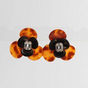 Henri Bendel Amber Resin Double Flower Earrings